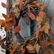 On an old black screen door I nailed a vintage garden rake and hung a pretty fall wreath on it.